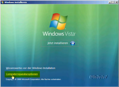 Windows Vista Computerreparaturoptionen