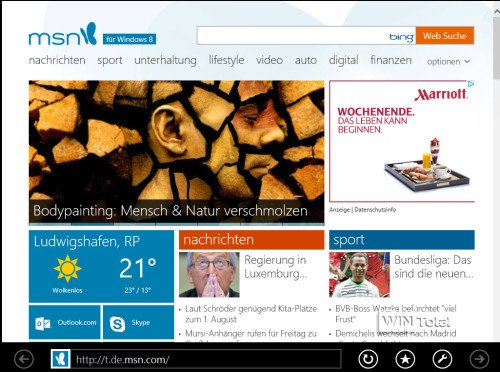 Windows 8.1, Internet Explorer 11, UI-App