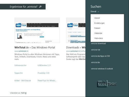 Windows 8.1, Suche