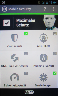 Oberfläche ESET Mobile Security Premium