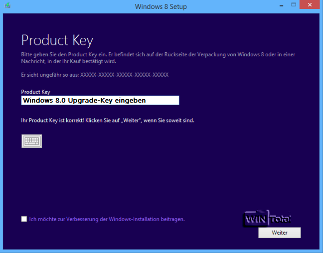 Windows 8 1 ohne vorheriges windows 8 0 installieren for Window 8 1 product key