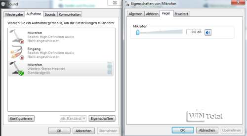 Soundpegel in Windows 7, IP-Telefonie, Fritz!Box, Phoner