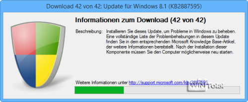 Download der Updates und Service Packs