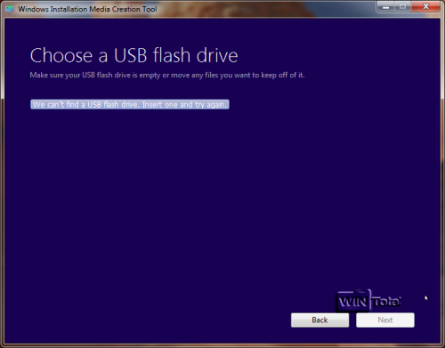 We can't find a USB flash drive. Insert one and try again
