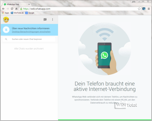 WhatsApp im Browser Google Chrome