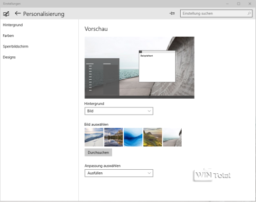 Win10 Build 10074 Personalisierung