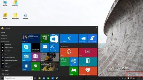 Win10 Build 10074 Startmenü