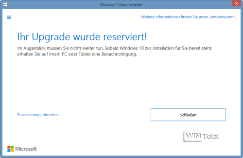 Win10 Upgrade reservieren