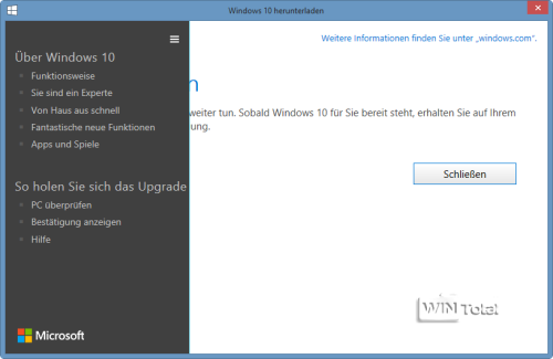 Win10 Upgrade Reservierung