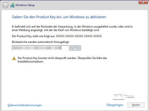 Windows 7/Windows 8 Key wird nicht erkannt