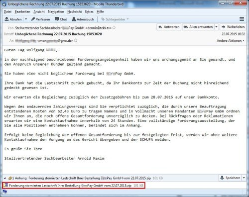 Spam-E-Mail mit Win32/Trustezeb im Anhang