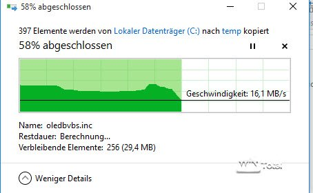 Kopierdialog in Windows 10