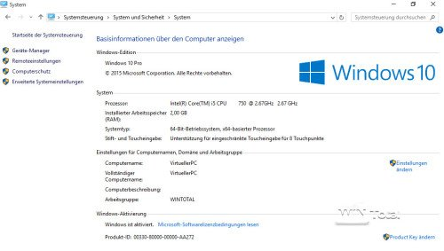 System unter Windows 10