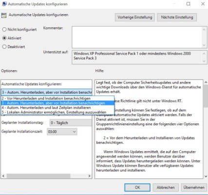 Gruppenrichtlinien Windows Update