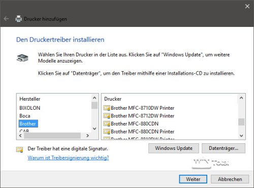 Druckertreiber Windows 10