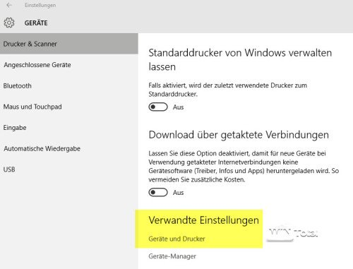 Drucker unter Windows 10