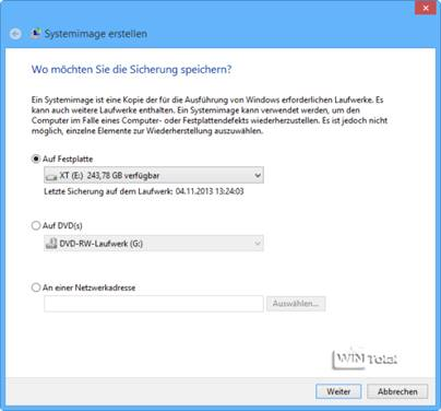 Systemabbild unter Windows