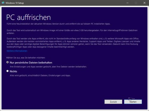 Windows 10 Refresh Tool
