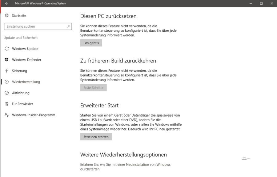 Erweiterter Start Windows 10