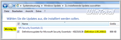 Definitionsupdate für Microsoft Security Essentials 1