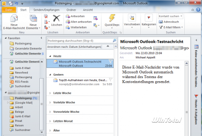 IMAP mit Outlook 2010