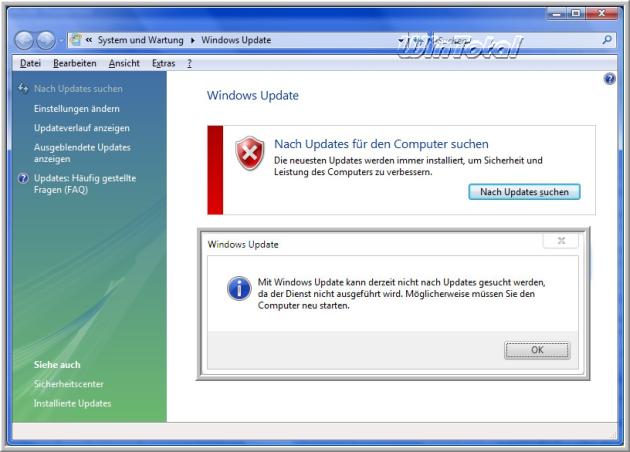 windows 7 update kann nicht gestartet werden