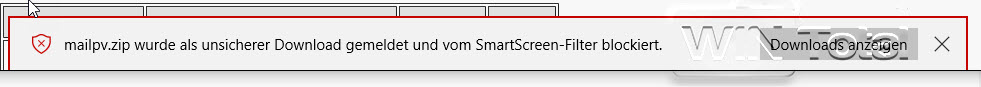 Fehlermeldung SmartScreen