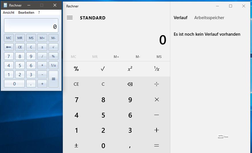 Taschenrechner von Win7 unter Windows 10