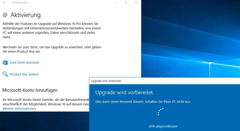Upgrade auf Windows 10 Pro