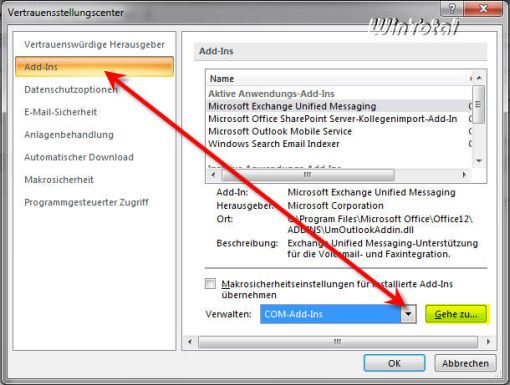how to enable add ins in outlook 2007