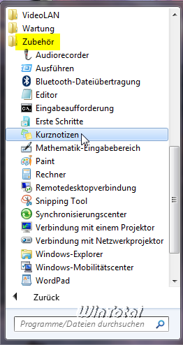 windows 7 kurznotizen