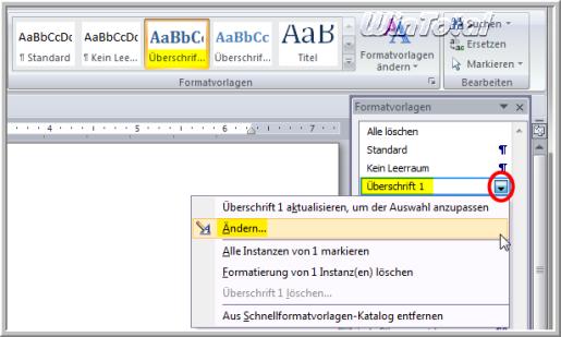 Automatische Aktualisierung In Der Word Formatvorlage Deaktivieren