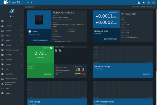 FreeNAS Dashboard