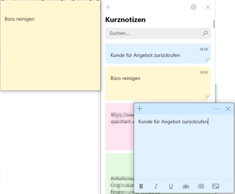 Kurznotizen Windows 10 auf dem Desktop
