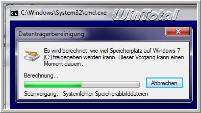 CMD-Fenster mit Datenträgerbereinigung