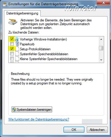 Datenträgerbereinigung (oberer Teil)
