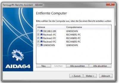 Auswahl der Remote-Rechner