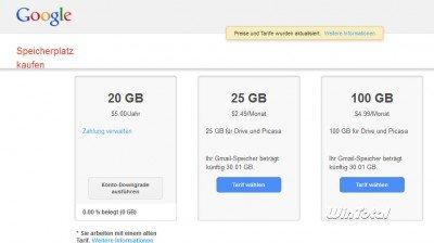 Tarife für Accounts bei Google Drive