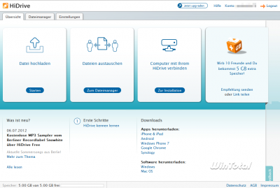 Weboberfläche von HiDrive