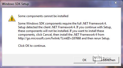 Meldung: .NET Framework 4 ist nicht installiert