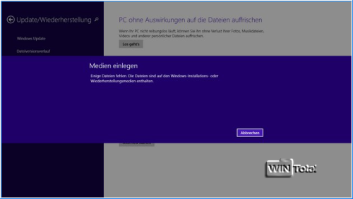 Windows 8.1 Meldung Medium einlegen
