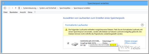 Samsung-Festplatte mit 3 Partitionen erkannt