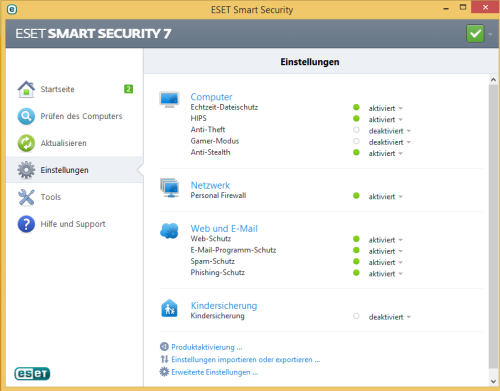 Eset Smart Security 7, Schutzsysteme
