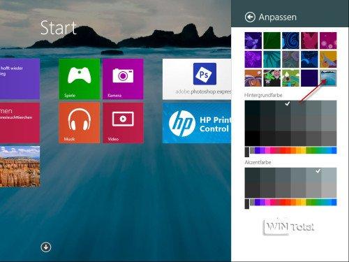 Start-Oberfläche, Hintergrund, Windows 8.1