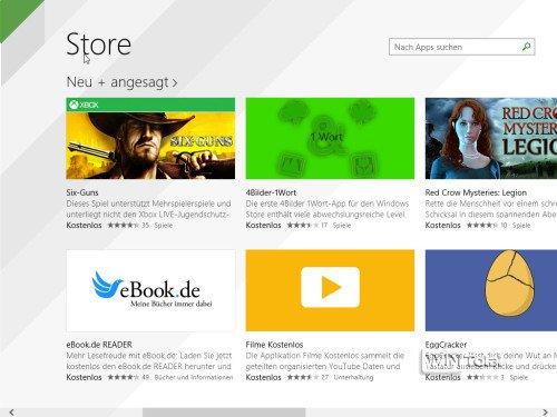Windows 8.1 Suche im Store