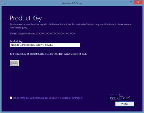 Windows 8.1 Generic Key eingeben
