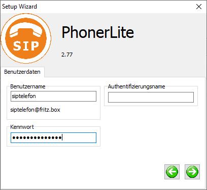 Einrichtung Account für PhonerLite