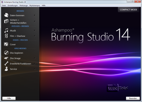 Ashampoo Burning Studio 14, neue GUI