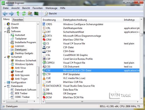 AIDA64, Dateitypen