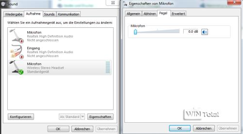 Soundpegel in Windows 7, IP-Telefonie, Fritz!Box, Phoner